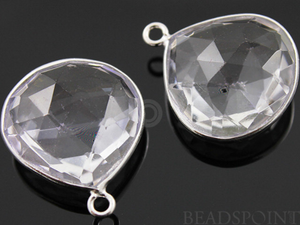 Rock Crystal Faceted Heart Bezel, (SSBZ6071) - Beadspoint