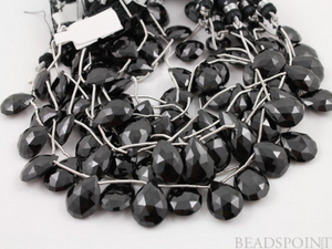 Black Onyx Faceted Pear Drops, 4 Pieces, (4X12x16Fpear) - Beadspoint
