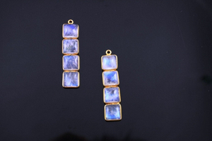 Rainbow Moonstone Pendant in Gold Vermeil, (RNB-803) - Beadspoint