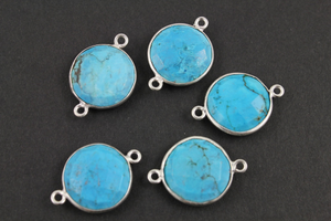 Blue Turquoise Faceted Bezel Coin Bezel Connector, (BZCT8102) - Beadspoint