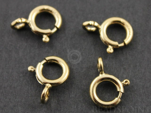 Gold Filled 6 mm Spring Ring w Closed Ring, (GF/450/6c)