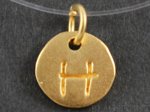 "24K Gold Vermeil Over Sterling Initial ""H"" on a Disc Charm -- VM/2034/H - Beadspoint"