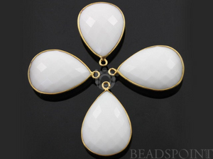 White Onyx Faceted Pear Shape Bezel, (BZC7310) - Beadspoint