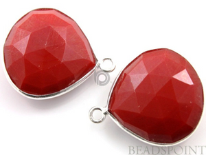 Red Onyx Faceted Heart Bezel, (SSBZ6073)