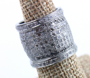 Pave Diamond Cigar Band - Diamond Cigar Band 3.65 Cts., Cigar band - Stack Micro Pave Ring - Oxidized Cigar Band, (RNG-003) - Beadspoint