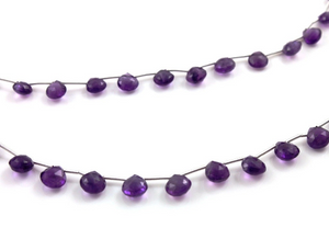Purple Amethyst Faceted Heart Drop, (AM/HRT/6-7) - Beadspoint