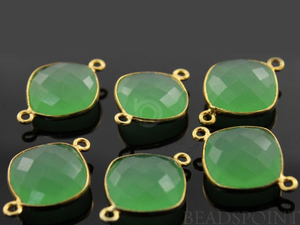 Green Chalcedony Faceted Cushion Shape Bezel Connector, (BZC7512) - Beadspoint