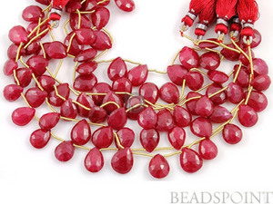 Genuine Ruby Rich Faceted Pear Briolettes, (2RBY8x10FPEAR) 82 - Beadspoint