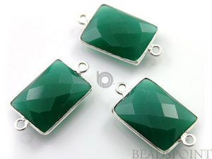 Green Onyx Faceted Rectangle Connector,, (SSBZC7451) - Beadspoint