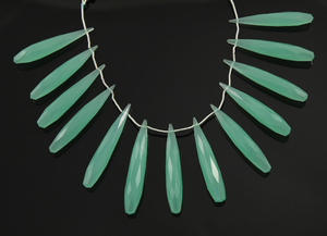 Aqua Green Chalcedony Faceted Long Teardrops, (AQCL/6x45/LTEAR) - Beadspoint
