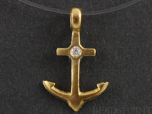 24K Gold Vermeil Over Sterling Silver Anchor Charm  -- VM/CH10/CR29