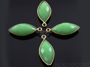 Chrysoprase Faceted Marquise Shape Bezel Connector, (BZC7191)