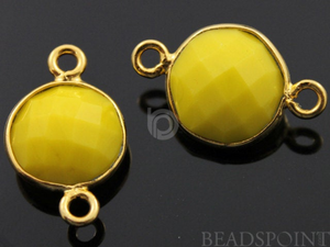 Yellow Turquoise Faceted Coin Connector, (BZC7238) - Beadspoint