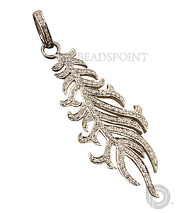 Pave Diamond Large Leaf Pendant -- DP-0854 - Beadspoint
