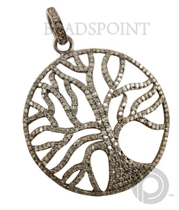 Pave Diamond Tree of Life Pendant --DP-0949 - Beadspoint