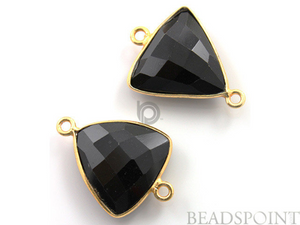 Black Onyx Faceted Triangle Shape Bezel Connector, (BZC7575-B)