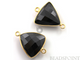 Black Onyx Faceted Triangle Shape Bezel Connector, (BZC7575-B) - Beadspoint