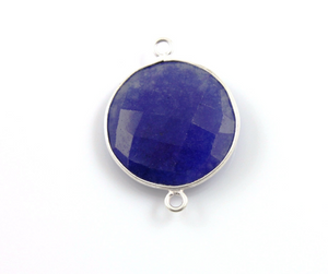 Dyed Sapphire Faceted Coin Connector,(BZCT6204) - Beadspoint