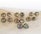 Sterling Silver w/ Labradorite Cabochons Stud Earrings, (ST/LAB/01) - Beadspoint