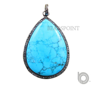 Pave Diamond Pear Turquoise  Pendant --DP-1293 - Beadspoint