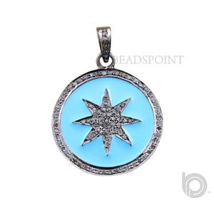 Pave Diamond Blue Star Pendant --DP-0665 - Beadspoint