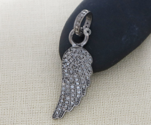Pave Diamond Feather Charm, (DPS-080) - Beadspoint