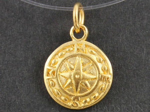24K Gold Vermeil Over Sterling Silver Nautical Charm  -- VM/CH10/CR28 - Beadspoint