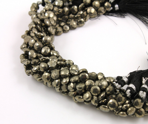 Pyrite Faceted Coin Beads, (PYR/COIN/7mm) - Beadspoint