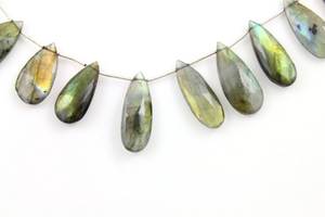 Bue Flashes Labradorite Faceted Pear Briolettes Beads, (LAB30x13PR) - Beadspoint