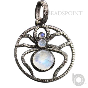 Pave Diamond Rainbow Moonstone Spider Pendant -- DP-1760 - Beadspoint