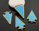 Triangle Turquoise Gold Electroplated Connector, (BZC9026/TURQ/LG) - Beadspoint