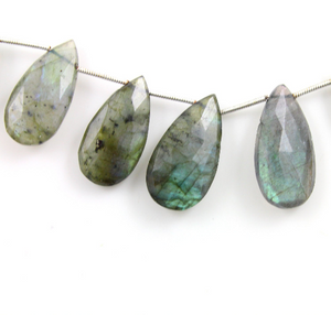 Labradorite Faceted Large Pear Drops, (LAB25x14PR) - Beadspoint