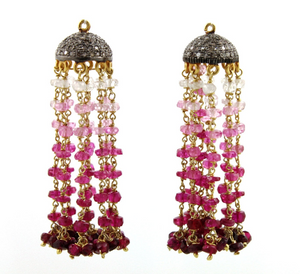 "Ruby Beaded Tassle Drops, 2"" Inches, (TASSRBY) - Beadspoint"