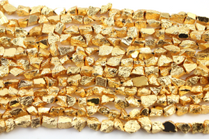 Pyrite Gold Colored Metallic Stone, (PYR/Raw/7X11(G)) - Beadspoint