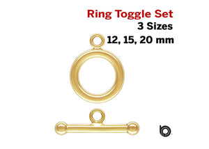 1 Set, 14k Gold Filled Toggle and ring Set, Clasp set, 3 Sizes, (GF-760)
