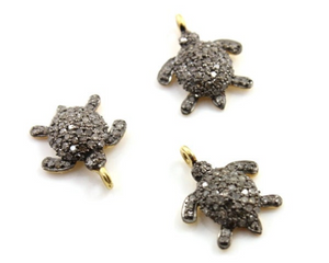 Pave Diamond Turtle Pendant, (MD/CH/CR15) - Beadspoint