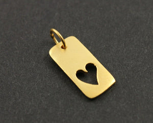 24K Gold Vermeil Over Sterling Silver Flat Rectangular Heart Charm-- VM/CH8/CR17
