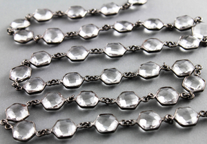 Rock Crystal Hexagon Faceted Bezel chain, (BC-CRY-137) - Beadspoint