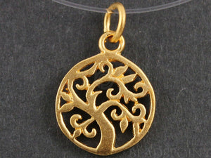 24K Gold Vermeil Over Sterling Silver Tree Charm -- VM/CH4/CR53