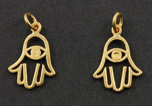24K Gold Vermeil Over Sterling Silver Hamsa with Evil Eye Charm -- VM/CH2/CR48