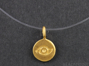 24K Gold Vermeil Over Sterling Silver Evil Eye Charm-- VM/CH2/CR1 - Beadspoint