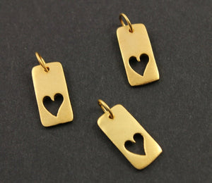24K Gold Vermeil Over Sterling Silver Flat Rectangular Heart Charm-- VM/CH8/CR17 - Beadspoint