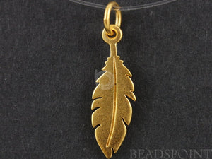 24K Gold Vermeil Over Sterling Silver Leaf Charm -- VM/CH4/CR23 - Beadspoint