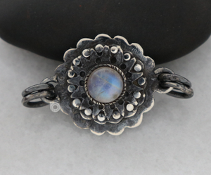 Sterling Silver Artisan Connector w/ Rainbow Moonstones -- (AF-132)
