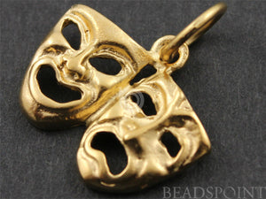24K Gold Vermeil Over Sterling Silver Drama Mask Charm-- VM/CH10/CR18 - Beadspoint