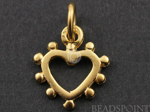 24K Gold Vermeil Over Sterling Silver Dotted Heart Charm-- VM/CH8/CR23