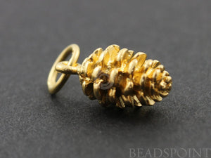 24K Gold Vermeil Over Sterling Silver Pine Charm  -- VM/CH4/CR13