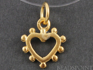 24K Gold Vermeil Over Sterling Silver Dotted Heart Charm-- VM/CH8/CR23 - Beadspoint