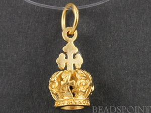 24K Gold Vermeil Over Sterling Silver Crown Charm -- VM/CH10/CR19 - Beadspoint