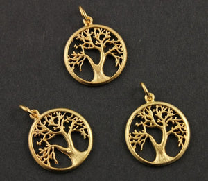 24K Gold Vermeil Over Sterling Silver Tree Charm  -- VM/CH4/CR94 - Beadspoint
